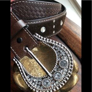 Rhinestone bling western belt sz M women's brown